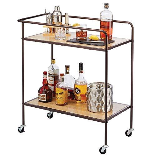 mDesign Carro camarera – Elegante carrito auxiliar con 2 niveles para accesorios de bar – Mesa con ruedas para servir realizada en metal y madera – color bronce/natural
