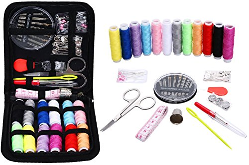 Sewing KIT,JKtown Portable Basic Sewing Accessories,Spools of Thread, Mini sew Kits Supplies for Beginners,Traveller,Emergency,Family Starter to Mending and Repair (74)