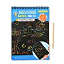Mziart Rainbow Scratch Art Paper Doodle Pad Drawing Notes for Kids (10-Sheets, Large Size Blue)