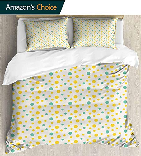 - Geometric 3 PCS King Size Comforter Set,Various Sized Dotted Pattern with Vibrant Tropical Inspirations Holiday Cool 3D Outer Space Bedding Digital Print 87