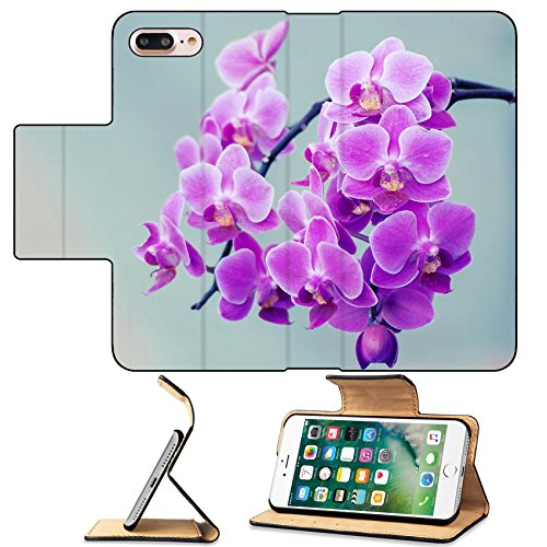 MSD Premium Apple iPhone 7 Plus Flip Pu Leather Wallet Case Orchids flower branch and vintage IMAGE (Vintage Orchid)