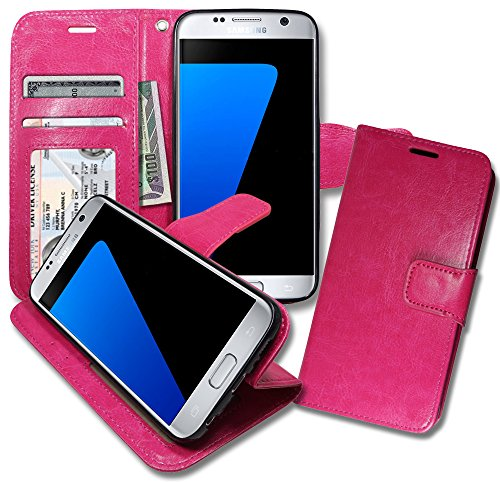 S7 [ Wallet ] Case, Samsung S 7 Soft Leather Flip Cover with [ Foldable Stand ] Pockets for ID, Credit Cards, Kickstand Features (Hot Pink)