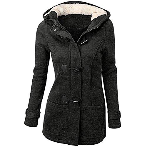 JJyee Women's Classic Winter Hooded Trench Jacket Warm Cotton Coat Dark Grey-01 2XL by JJyee