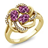 1.51 Ct Oval Pink Tourmaline 18K Yellow Gold Plated Silver Ring