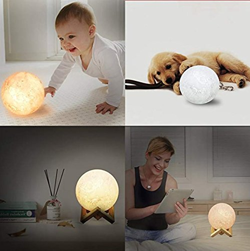 AMZLIFE [Upgraded Version] 3D Printing LED Moon Lamp Lighting, Touch Sensor Switch 2 Brightness Changeable 3000k 6000k Lunar, USB Rechargeable Decorative Lights, Dimmable 5.9inch