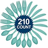 """Amscan Sturdy Big Party Pack Window Box Value Party Supply Cutlery Set, 11.2"""" x 6.6"""", Robin's Egg Blue"""