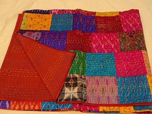 Indian Quilt -Vintage Quilt Old Patola Indian Silk Sari Kantha Quilted Patchwork Bedspread Bohemian Kantha Throws, Gudari Handmade (Tapestry Vintage Sari Indian)