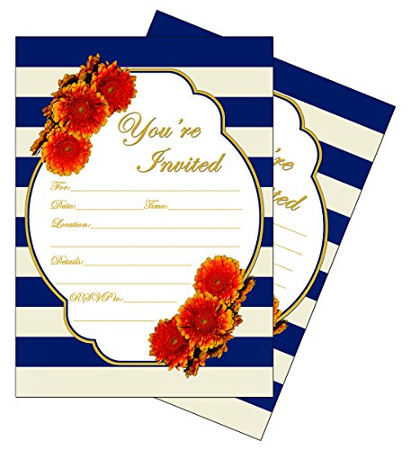 50 - Navy (Royal Blue) 5x7 Heavy Duty Postcard Invitations for showers, weddings, parties, anniversary, birthday, graduation]()