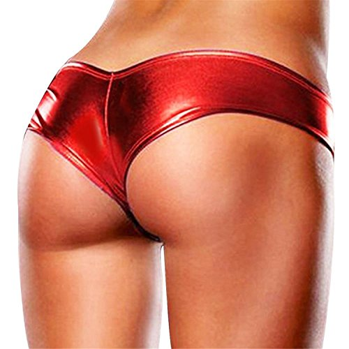 Madehappy Womens Patent Leather Sexy Briefs Bikini Jockstraps Underwear Underpants T-Back Sexy Panties for Women's One Size Red One (Jersey Leather Thongs)