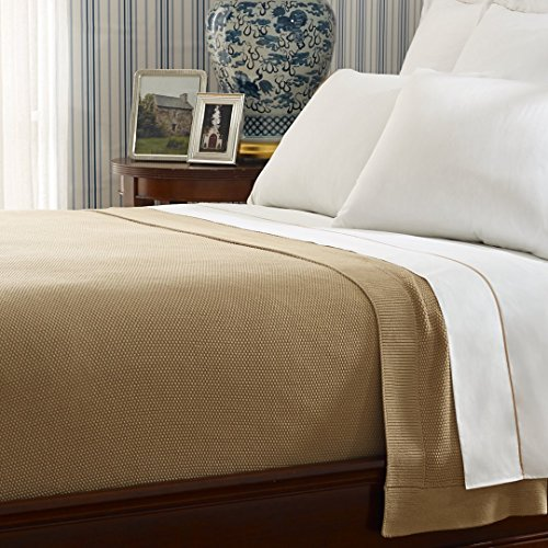 Ralph Lauren Palmer Percale Luxurious Woven Bed Blanket (Full/Queen, Burnished Chamois)