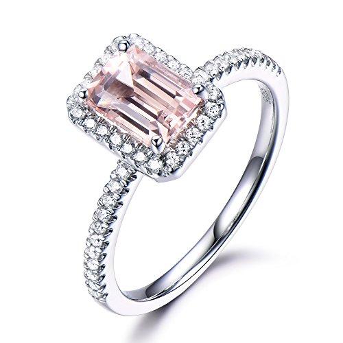 Morganite Engagement Ring 6x8mm Emerald Cut CZ Cubic Zirconia Diamond Halo 925 Sterling Silver White Gold by Milejewel Morganite Engagement Ring