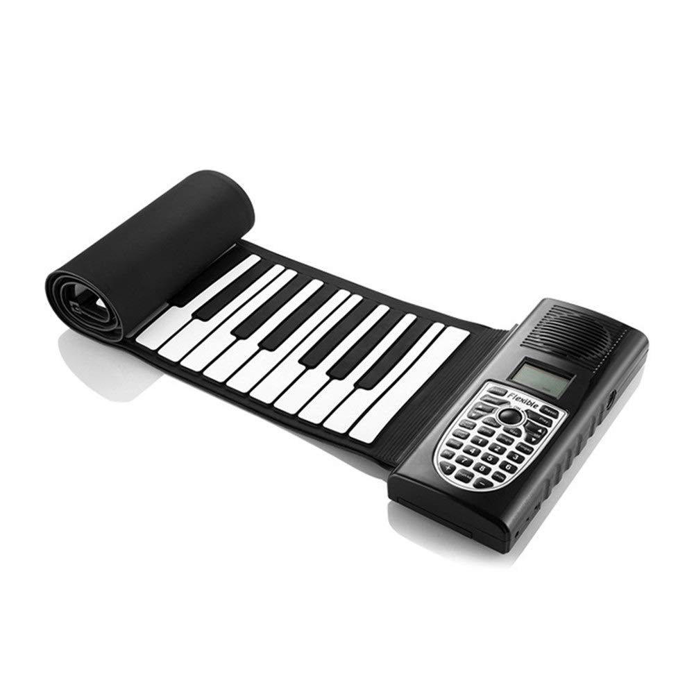 Electronic piano Kid's Educational 49 Keys Flexible Roll-Up Electronic Digital Music Piano Keyboard Portable Design With Recording Replaying Functions 128 Tones 100 Rhythm 40 Demo Songs Build-in Speak by Shenghua1979-MU