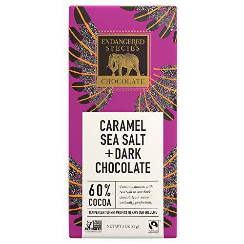 Endangered Species Eagle, Fair Trade Dark Chocolate with Caramel and Sea Salt Bar, 60% Cocoa - 3 Ounce Bars (12 Pack) -