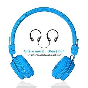 Écouteurs pour enfants avec ports de partage pour le partage de musique, TermichyÉcouteurs réglables sur l'oreille pour enfants avec contrôle de volume et câbles de microphone de 3,5 mm pour téléphones cellulaires Apple Android Smartphones ordinateurs Ordinateurs portables (Bleu)