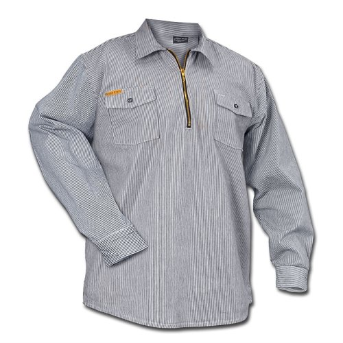 (Prison Blues Long Sleeve 1/2 Zip Hickory Shirt -)