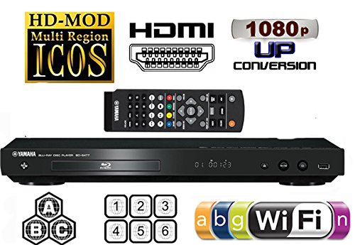 YAMAHA BD-S477 Multi Region DVD Blu Ray Player - 2D/3D - Built-in WiFi - Multi Zone ABC - Multi System DVD 012345678 PAL/SECAM NTSC - Worldwide Voltage 100~240v 50/60Hz (6 Feet HDMi Cable Included)