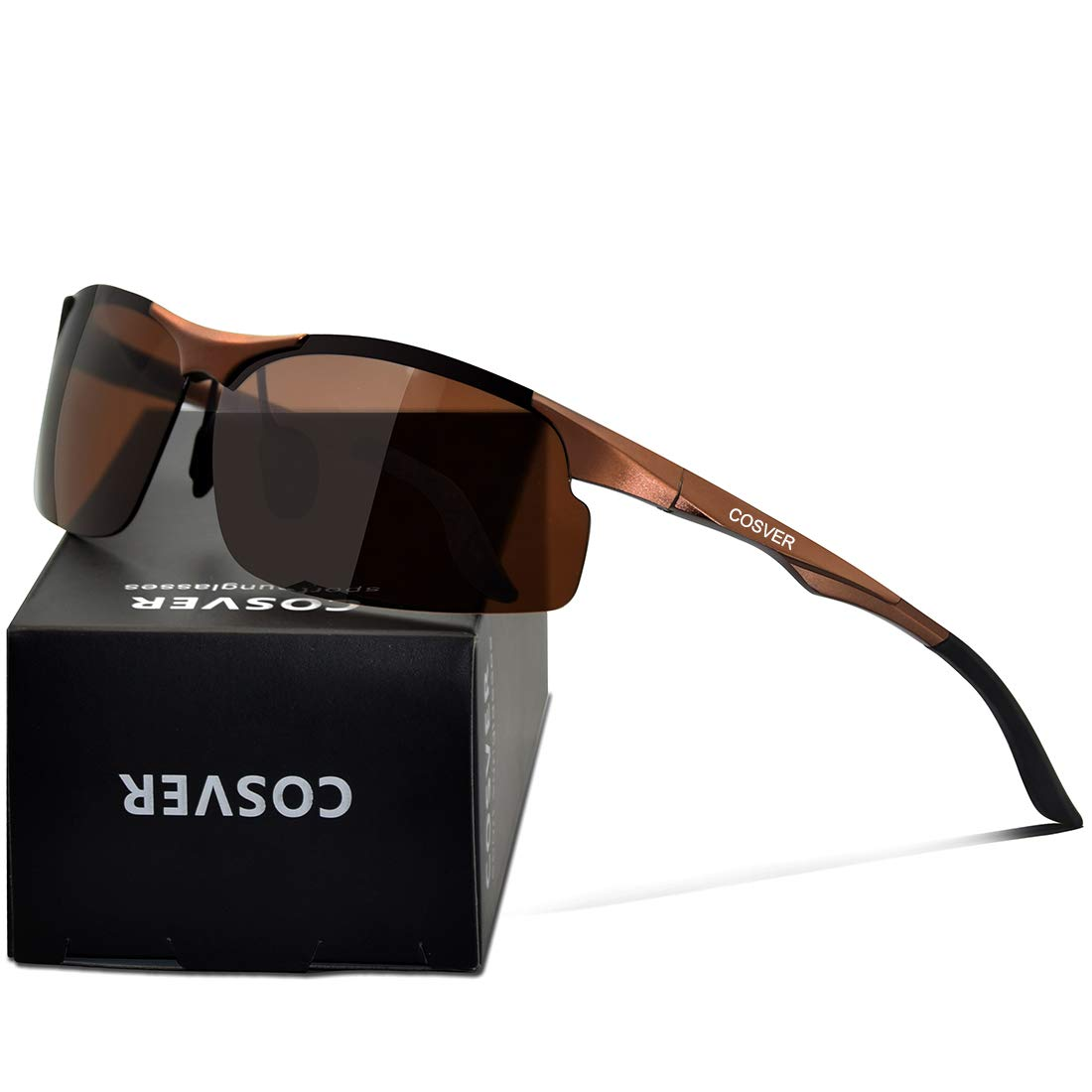 27ae5be6657c Galleon - COSVER Men s Polarized Sports Sunglasses For Men Driving Cycling  Running Fishing Golf Unbreakable Frame Metal Glasses 8003 (Brown)