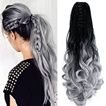 """Neverland Beauty 22"""" Claw on Ombre Two Tone Synthetic Curly Wavy Ponytail Hair Extensions Natural Black to Silver Grey"""
