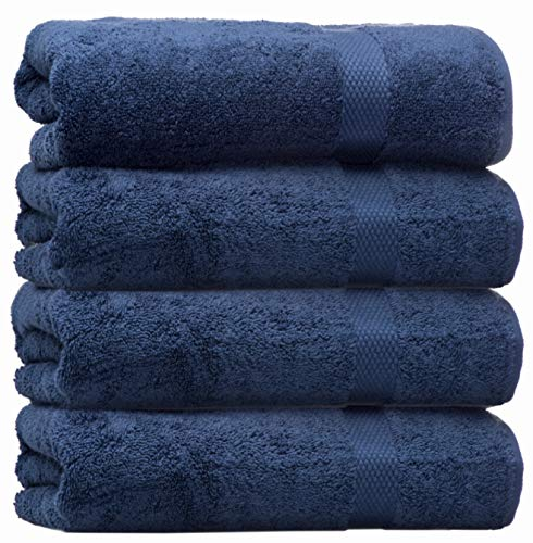 White Classic Luxury Bath Towels Large - Circlet Egyptian Cotton | Highly Absorbent Hotel spa Collection Bathroom Towel | 27x54 Inch | Set of 4 | Navy Blue