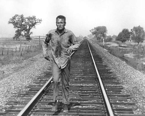 Paul Newman in Cool Hand Luke classic image running on rail tracks 8x10 Promotional Photograph