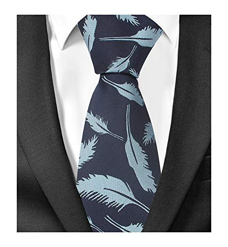 Men's Navy Blue Silk Ties Funny Feather Business Boys Extra Long Dress Neckties -