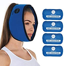 Face Ice Pack for Wisdom Teeth, Jaw, Head and Chin, 4 Reusable Hot or Cold Gel Packs, Relief for Mouth, or Oral Pain…