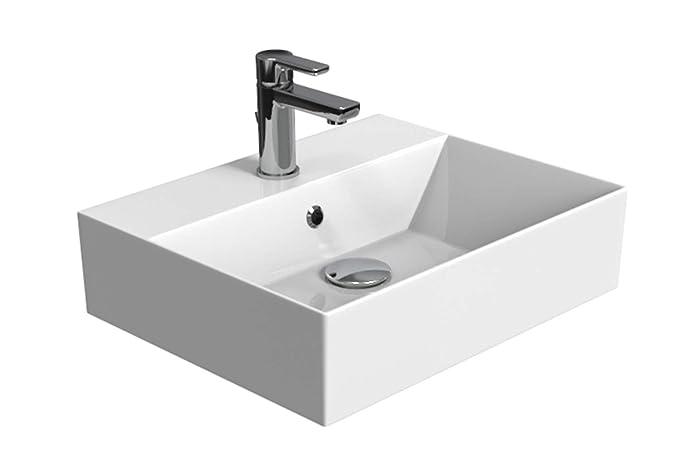 Aqua Bagno | Waschbecken/Aufsatzbecken | modernes Design | weißer Waschtisch aus Keramik | hochwertiger Möbelwaschtisch für d