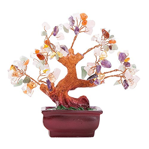 ix Gemstone Quartz Bonsai Money Tree ()