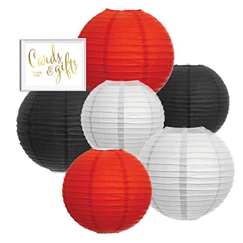 Andaz-Press-Hanging-Paper-Lantern-Party-Decor-Trio-Kit-with-Free-Party-Sign-Red-White-Black-6-Pack-For-Ladybug-Baby-Shower-Birthday-Decorations