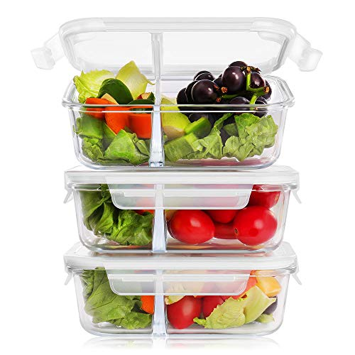 BAYKA Glass Meal Prep Containers 36 Oz 3-Pack, 2 Sealed Compartment Glass Food Storage Containers with Lids, Portion Control Airtight Glass Lunch Containers, BPA Free