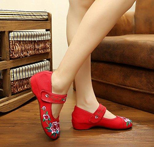 Bordado Rojo De Casual En Moda Aumento Tendón Zapatos Cómodo Mn Gamuza Mujeres Estilo Zapatos Étnico Suela El daq7wC