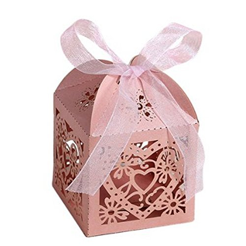 Patty Pink Ribbon - 50 PCS Patty Romantic Hollow Shape Wedding Party Favor Decoration Candy Hollow Boxes With Ribbons (Pink)