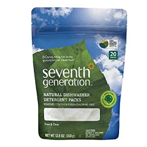 Seventh Generation Free & Clear Natural Dishwasher Detergent Pacs 20 ea -Pack of 2