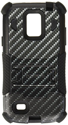 Beyond Cell Tri-Shield Durable Hybrid Hard Shell and Silicone Gel Case for Samsung Galaxy S4 Mini - Retail Packaging - Black/Carbon Fiber