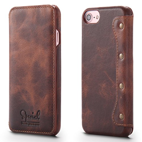 for Apple iPhone 8 Plus & 7 Plus & 6S Plus Case [Simple Luxury] Genuine Top Cow Oil Wax Leather Luxury Cell Phone Wallet Case Vintage Designer Folio Flip Cover with Card Slot ()
