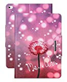 iPad Mini 4 Case, WITCASE Colorful Painting Design Folio PU Leather Case with [Auto Wake/Sleep Function] Smart-shell Stand Cover for Apple iPad Mini 4 (2015 Edition) (make a wish and pink inside)