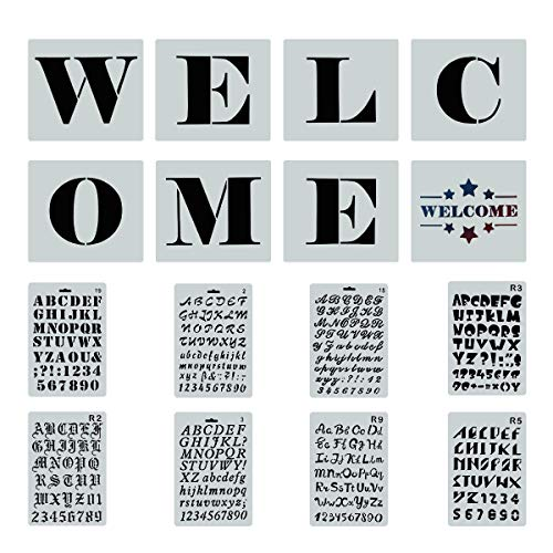 (Reusable Welcome Sign Stencils for Painting on Wood, 8 PCS Large Individual Templates + 8 PCs Letters Stencils with Numbers and Signs for Hotel Home Porch Sign Decorations)