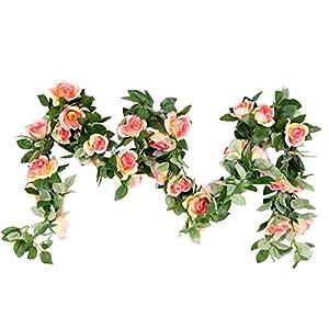"M2cbridge Artificial Silk Rose Garland Flower Ivy Garland 86"" Home Hanging Wedding Decor, 2 Strands 60"