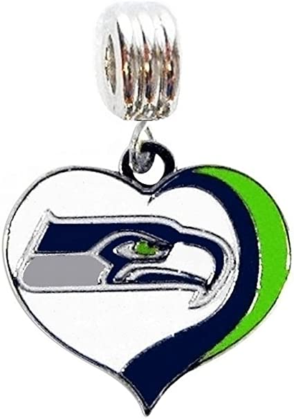 DIY PROJECTS ETC Fits Most Name Brands Heavens Jewelry SEATTLE SEAHAWKS FOOTBALL TEAM HEART CHARM SLIDE PENDANT FOR YOUR NECKLACE EUROPEAN CHARM BRACELET