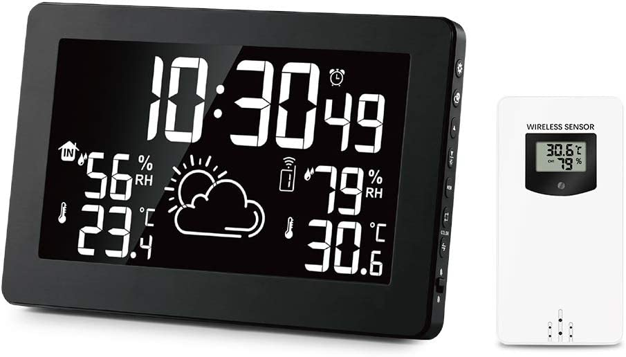 Home Wireless Color Weather Station with Indoor Outdoor Thermometer-Humidity Gauge