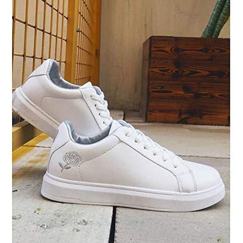 ZHZNVX Zapatos de Confort para Mujer PU (Poliuretano) Zapatillas de Deporte de Primavera y otoño con tacón Plano Rosa/Blanco / Negro/Blanco / Blanco/Plateado White / Silver