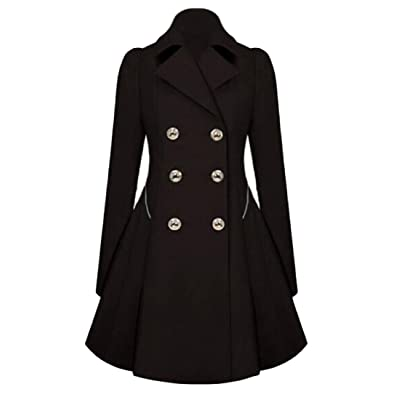 buy online be9ca aeb64 Abetteric Womens Trench Coat Double-breasted Slim Plus Size Elegant Peacoat