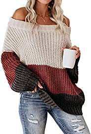VIMPUNEC Womens Oversized Sweater Color Block Off The Shoulder Pullover Sweaters Cable Knit Chunky Striped Top