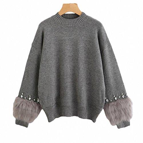 Goexi Womens Pullover Sweater Rhinestone ans Faux Fur Embellished Cuff Jumper Grey Crew Neck Autumn Elegant Long Sleeve Dark Grey One (Rhinestone Sweater)