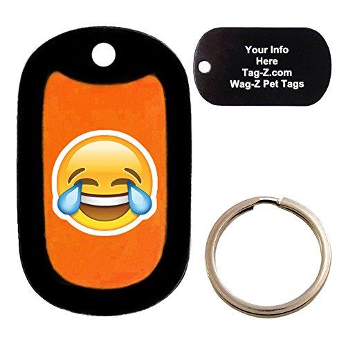 Custom Engraved Pet Tag - laughing tears emoji orange - Dog Tag - Tag-Z Wag-Z ()
