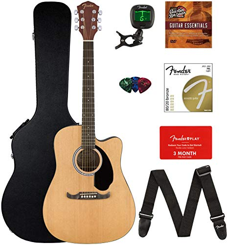 dnought Cutaway Acoustic-Electric Guitar Bundle with Hard Case, Strap, Strings, Tuner, Picks, Fender Play Online Lessons, and Austin Bazaar Instructional DVD ()