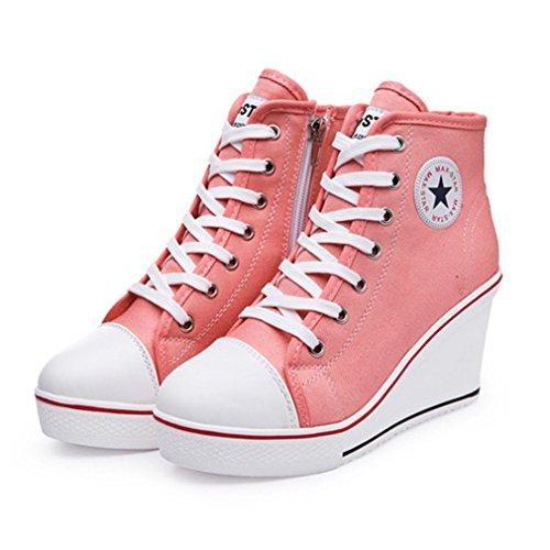 Femme Chaussure de Mode Compensée Sneakers Loisir Basket Haute de Talon Textile Moderne Montante Wedge 8 CM 35-43 Plate-forme Rose 3MzUgSv