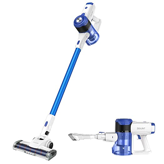 ZIGLINT Cordless Vacuum Cleaner 19Kpa Strong Suction 4 in 1 Stick Vacuum LED Brush Handheld Vacuum with Brushless Motor Multiple Brush for Home Car