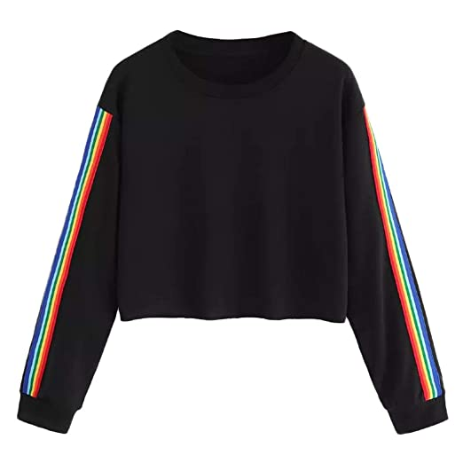 NREALY Blusa Womens Long Sleeve Rainbow Patchwork O Neck Sweatshirt Casual Blouse Pullover(XL,