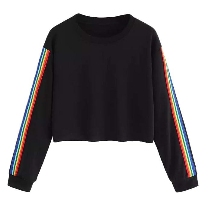 59e9e0150344 Women Fashion Swearshirt Long Sleeve Girls Cute Rainbow Print Casual ...